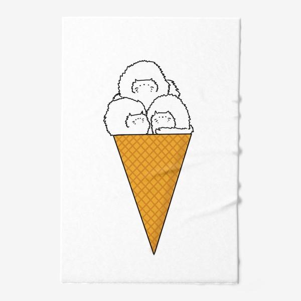 Полотенце «Котики. Рожок мороженого. Летнее настроение »