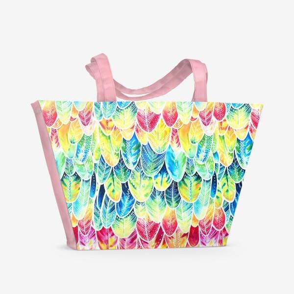 Пляжная сумка «Перья попугая. Акварельный паттерн »