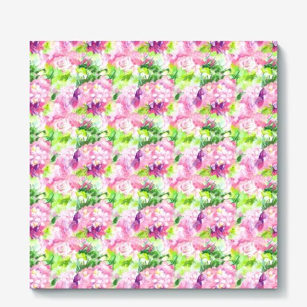 Холст «Паттерн с розовыми цветами»