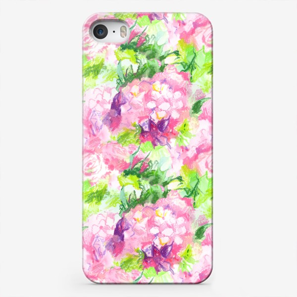 Чехол iPhone «Паттерн с розовыми цветами»
