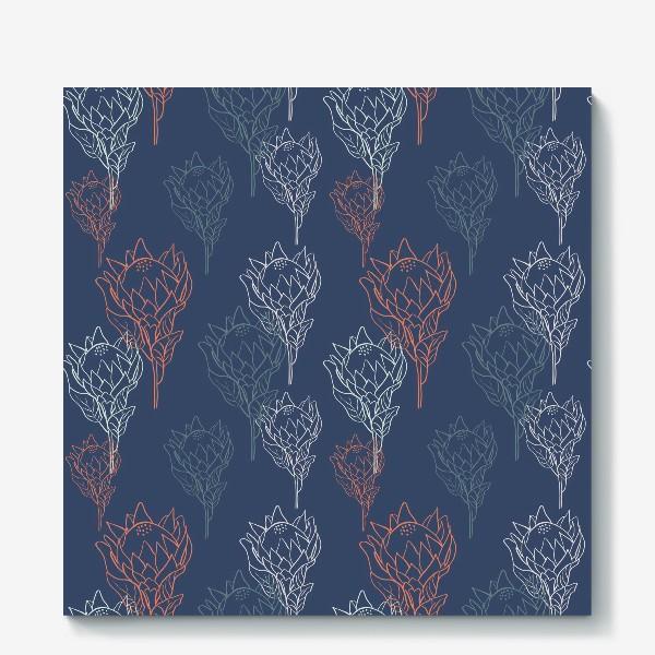 Холст «Контрастный узор с цветами протеи на синем фоне»