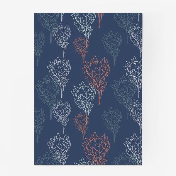 Постер «Контрастный узор с цветами протеи на синем фоне»
