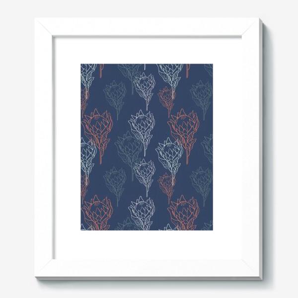 Картина «Контрастный узор с цветами протеи на синем фоне»