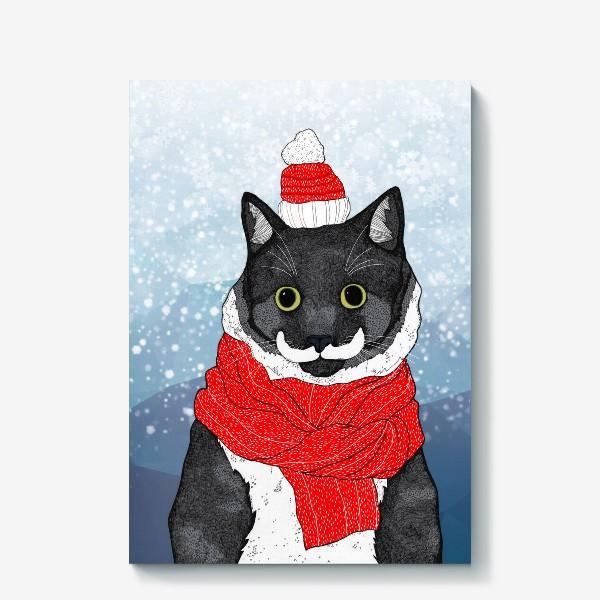 Холст «Зимний Кот»