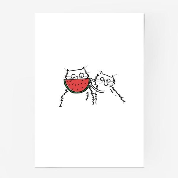 Постер «Коты с арбузом. Улыбнись! Летнее настроение»