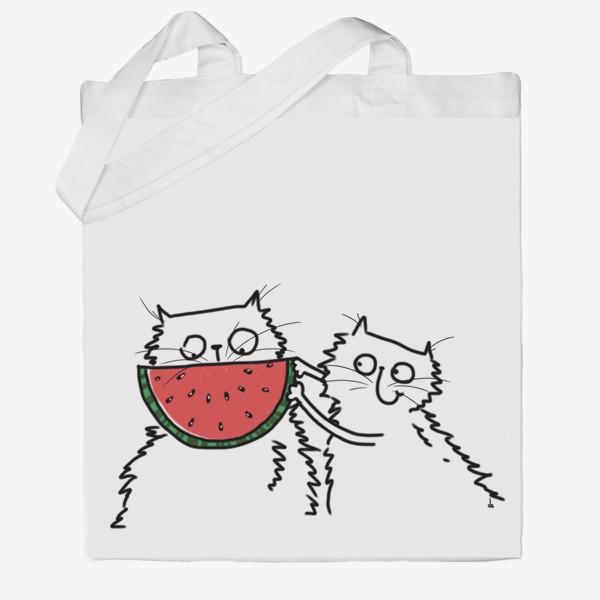 Сумка хб «Коты с арбузом. Улыбнись! Летнее настроение»