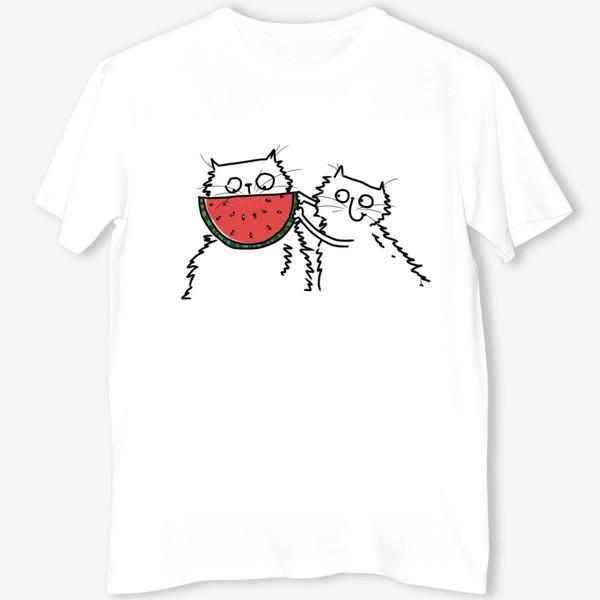Футболка «Коты с арбузом. Улыбнись! Летнее настроение»