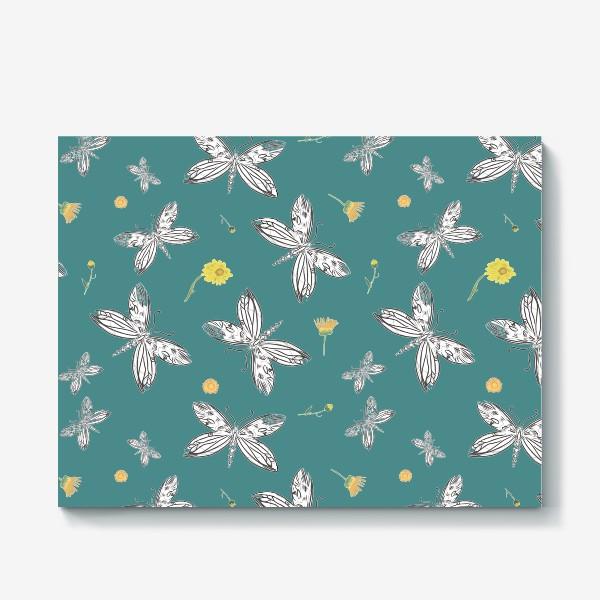 Холст «Бабочки и календула»