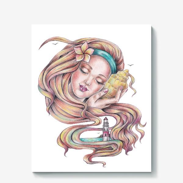 Холст «Девушка с ракушкой»