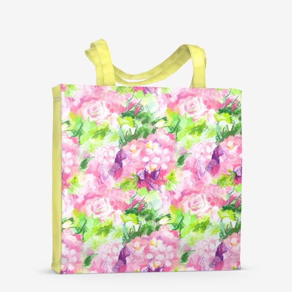Сумка-шоппер «Паттерн с розовыми цветами»
