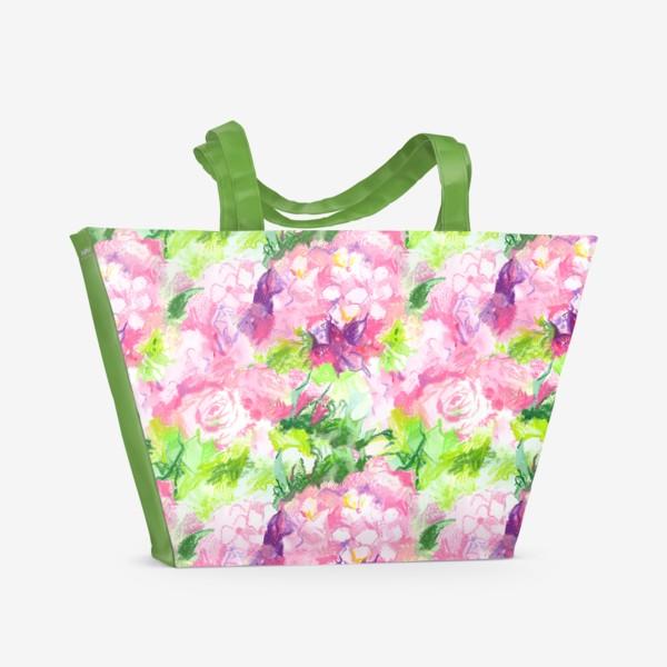 Пляжная сумка «Паттерн с розовыми цветами»