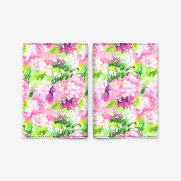 Обложка для паспорта «Паттерн с розовыми цветами»