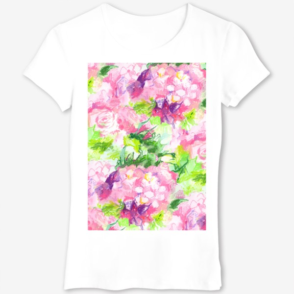 Футболка «Паттерн с розовыми цветами»
