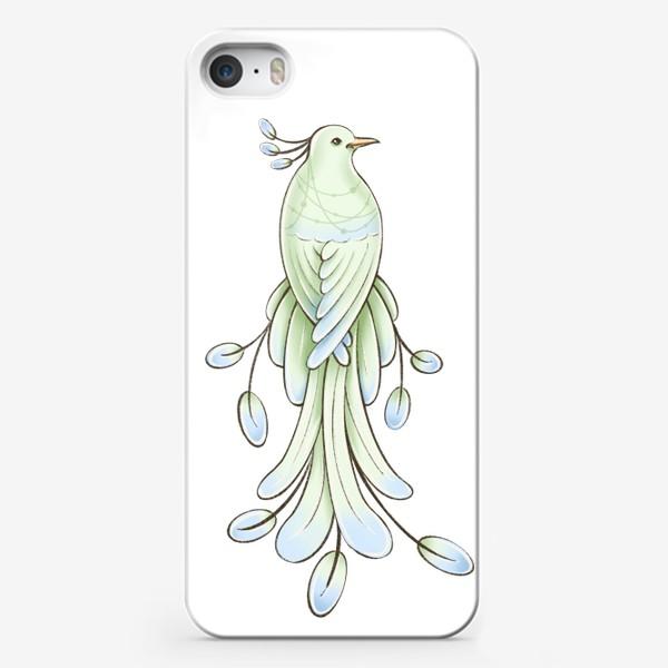 Чехол iPhone «Рисунок экзотическая зелёная птица»