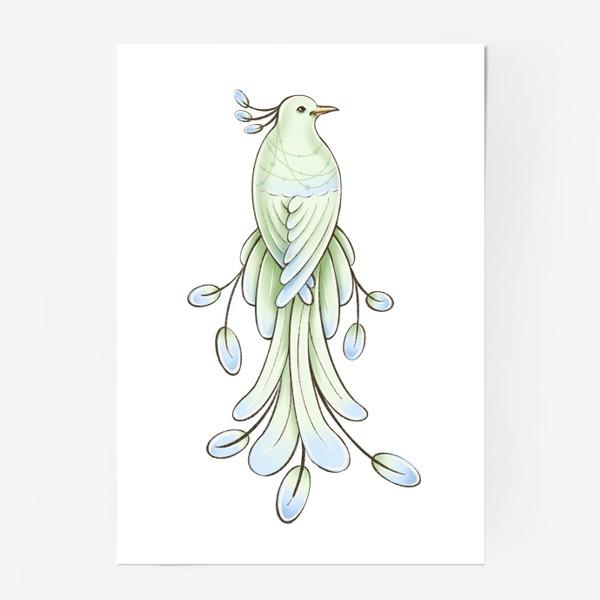 Постер «Рисунок экзотическая зелёная птица»