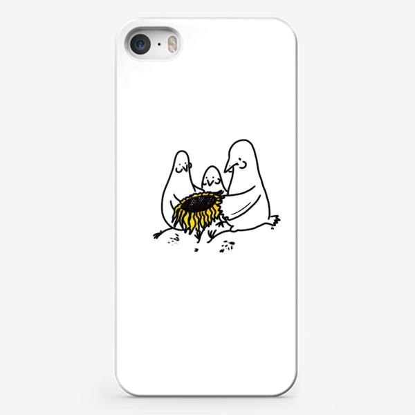 Чехол iPhone «Птицы-братаны с подсолнухом. Лузганье семечек. Летнее настроение»
