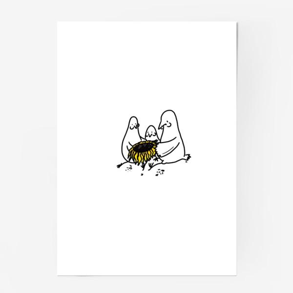 Постер «Птицы-братаны с подсолнухом. Лузганье семечек. Летнее настроение»