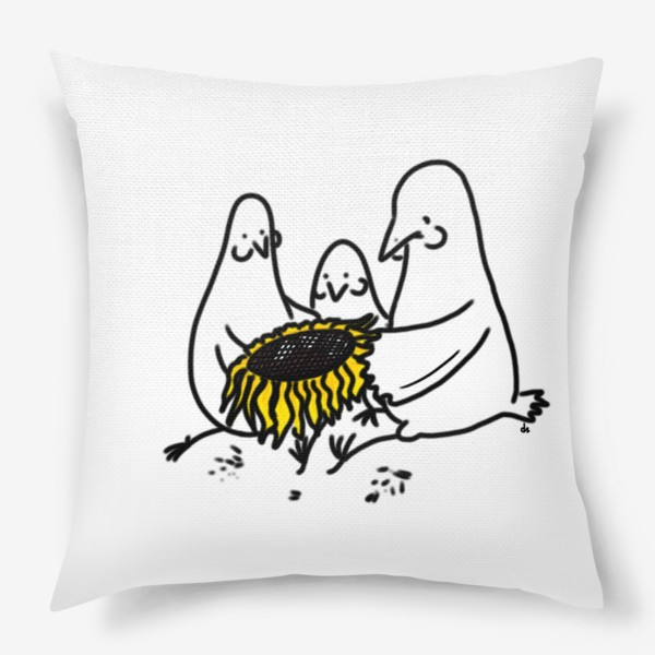 Подушка «Птицы-братаны с подсолнухом. Лузганье семечек. Летнее настроение»