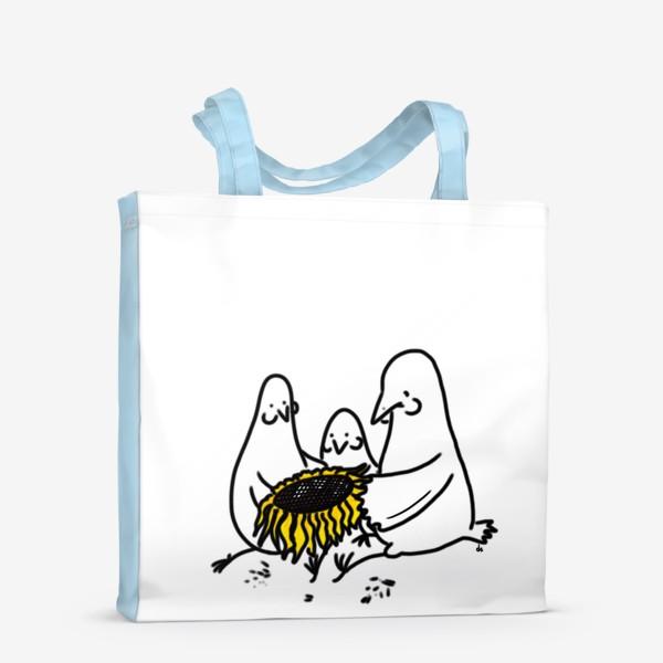 Сумка-шоппер «Птицы-братаны с подсолнухом. Лузганье семечек. Летнее настроение»