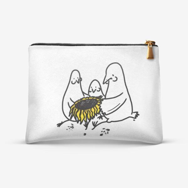 Косметичка «Птицы-братаны с подсолнухом. Лузганье семечек. Летнее настроение»