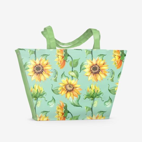 Пляжная сумка «Подсолнухи цветут»