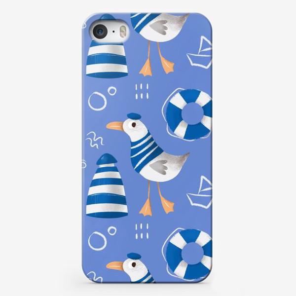 Чехол iPhone «Море, Чайки в тельняшке, Маяки на голубом фоне. для моряка»