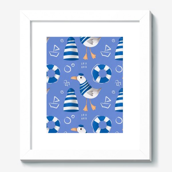 Картина «Море, Чайки в тельняшке, Маяки на голубом фоне. для моряка»