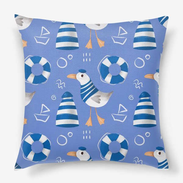 Подушка «Море, Чайки в тельняшке, Маяки на голубом фоне. для моряка»
