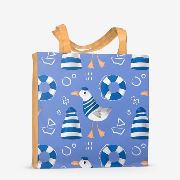 Сумка-шоппер «Море, Чайки в тельняшке, Маяки на голубом фоне. для моряка»