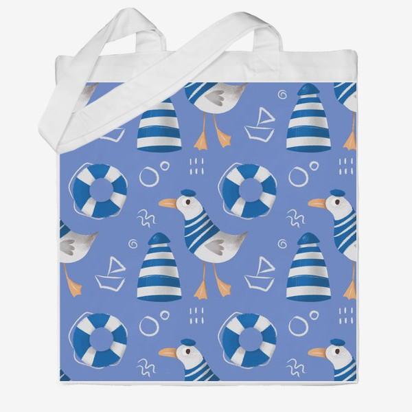 Сумка хб «Море, Чайки в тельняшке, Маяки на голубом фоне. для моряка»