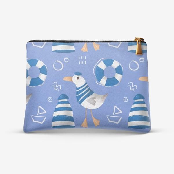 Косметичка «Море, Чайки в тельняшке, Маяки на голубом фоне. для моряка»