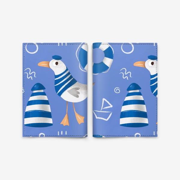 Обложка для паспорта «Море, Чайки в тельняшке, Маяки на голубом фоне. для моряка»