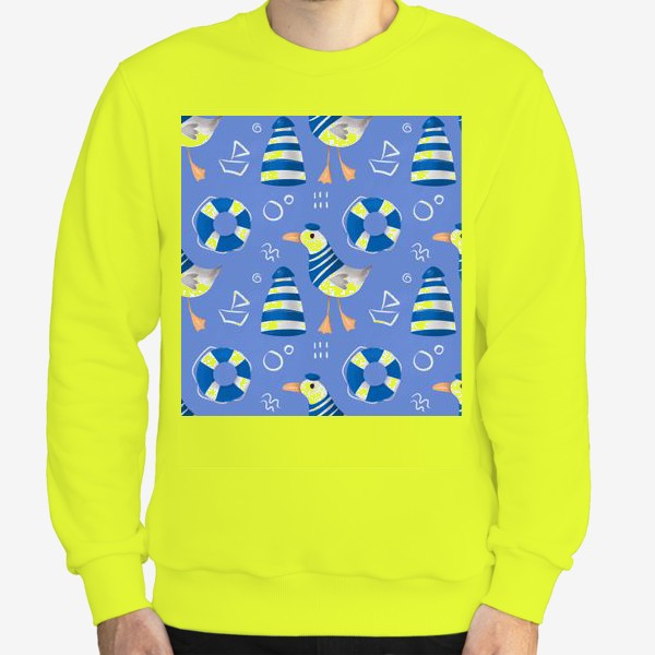 Свитшот «Море, Чайки в тельняшке, Маяки на голубом фоне. для моряка»
