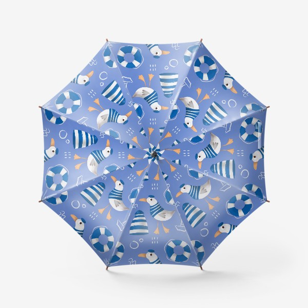 Зонт «Море, Чайки в тельняшке, Маяки на голубом фоне. для моряка»