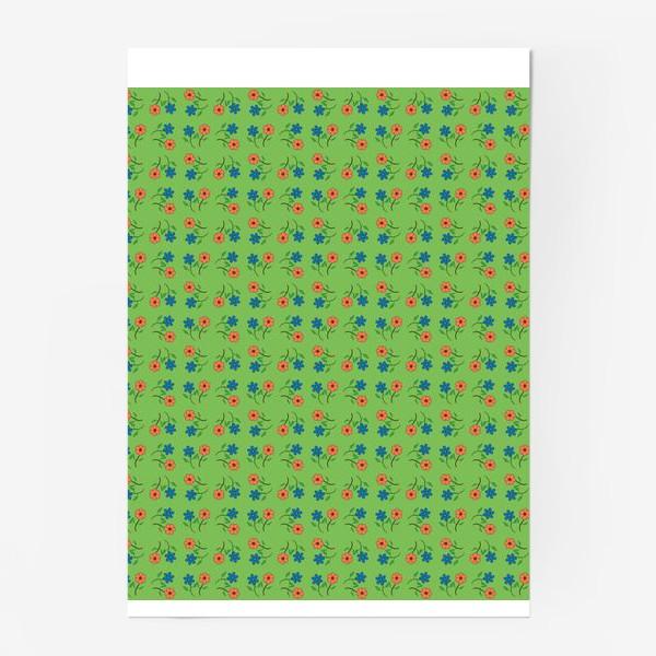 Постер «Цветочный рисунок на зеленом фоне »