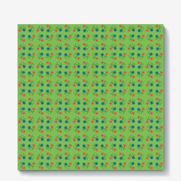 Холст «Цветочный рисунок на зеленом фоне »