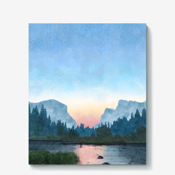 Холст «Горы. Река»