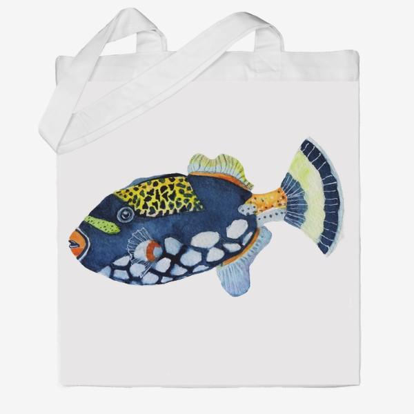 Сумка хб «Рыбка индиго.»