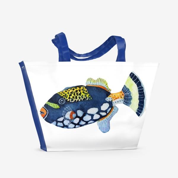 Пляжная сумка «Рыбка индиго.»