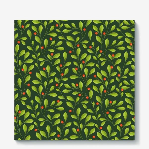 Холст «Зеленый Паттерн с листьями и красной ягодой»