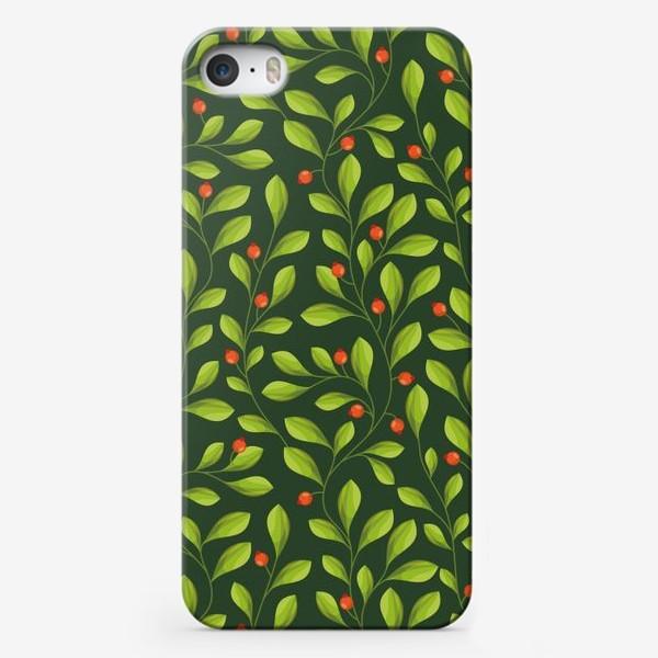 Чехол iPhone «Зеленый Паттерн с листьями и красной ягодой»