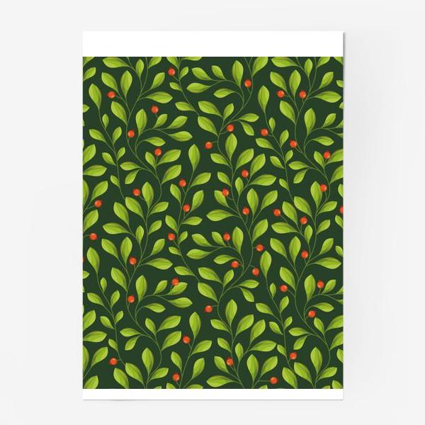 Постер «Зеленый Паттерн с листьями и красной ягодой»