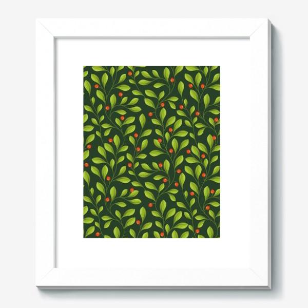 Картина «Зеленый Паттерн с листьями и красной ягодой»