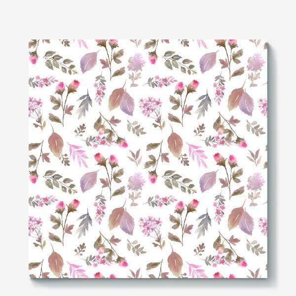 Холст «Нежные розовые бутоны на белом фоне»
