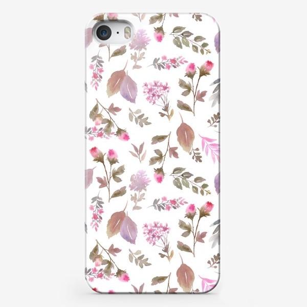 Чехол iPhone «Нежные розовые бутоны на белом фоне»