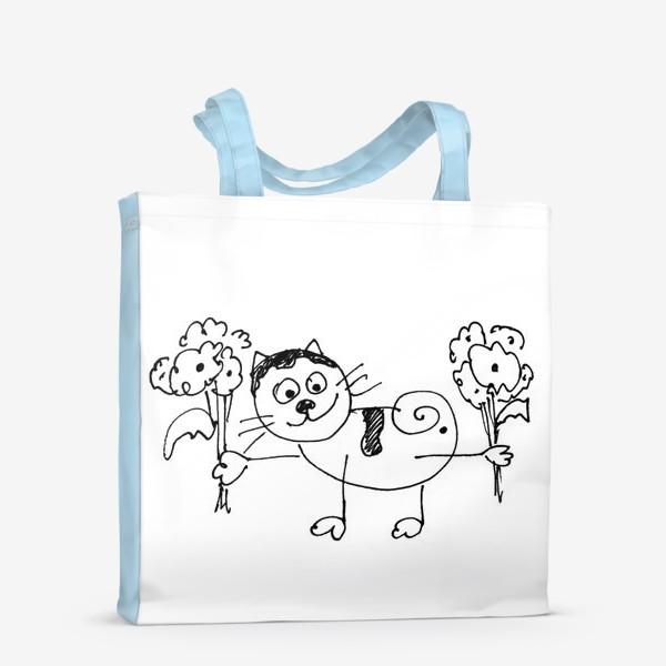 Сумка-шоппер «Котик с цветами»