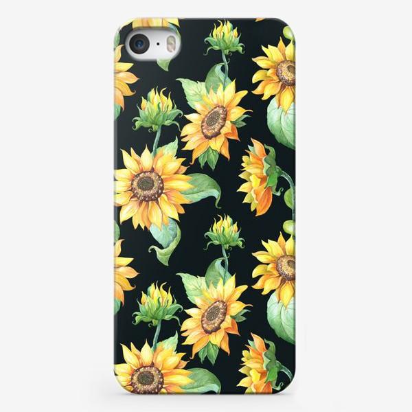 Чехол iPhone «Подсолнухи с листьями на черном»