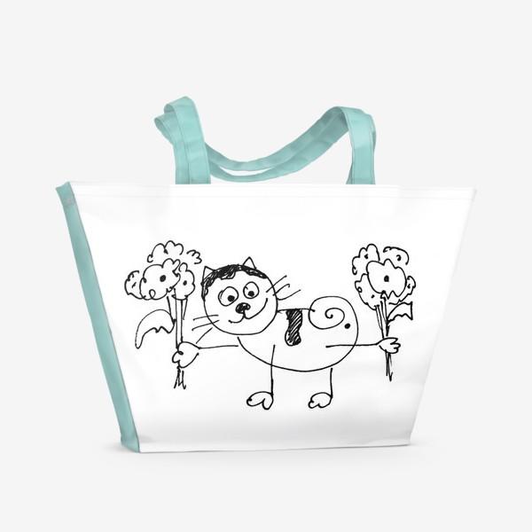 Пляжная сумка «Котик с цветами»