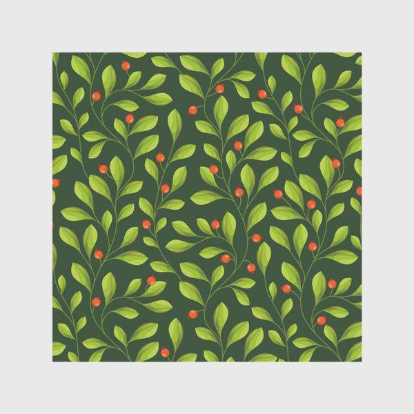 Скатерть «Зеленый Паттерн с листьями и красной ягодой»