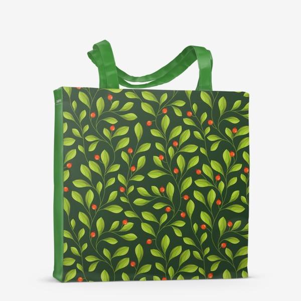 Сумка-шоппер «Зеленый Паттерн с листьями и красной ягодой»